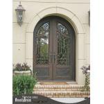 Round top wrought iron double door