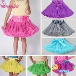 Factory wholesale party wedding fluffy pettiskirt skirts in chiffon baby girls dresses