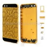 Plating Metal Middle Plate Housing Cover Assembly for iPhone 5 - Waterweeds Pattern (Gold & Black)