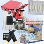 2 Tattoo Machine Guns Power Supplies Inks Pigment Needles
