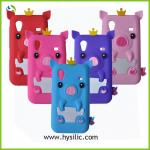 cartoon animal shaped crown pig silicone mobile phone case for Samsung galaxy Ace S5830
