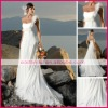 Flattering curved strapless neckline chiffon pleated formal wedding dress dswd0022