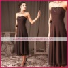 Grown tea-length strapless simple loose flowing ruffled-hem chiffon a-line evening gowns ed0206