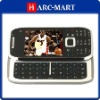 WiFi Mobile E75 Quad Band Dual Card TV JAVA QWERTY Keypad Side Slide Cell Phone Silver and Black #5070