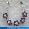 Flower lavender+white gemstone popular links friendship bracelet & bangles