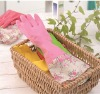Monolayer flower household latex gloves
