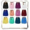 Women Lady Chiffon Pleated Retro High Waist Double Layer Mini Skirts