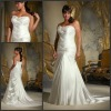 ML 3134 Newest White Satin Sleeveless Long Trail Super Plus Size Wedding Dresses