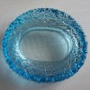 HIgh quality crystal clear glass art blue ashtray