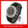 Wholesale Mens Womens Black Large Silicone Jelly Crystal CZ Geneva Watch