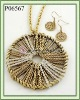 Fashion Necklace & Earring Setl/Gold Tone/Nickel and Lead Free