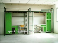 Double Metal Bunk Bed with desk and cabinet