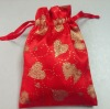 red heart jewelry or wedding drawstring organza bag
