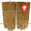 wholesale fashion fur leather with hair gloves