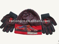 acrylic knited beanie&gloves with printed and embroidery