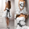 BW111 Strapless ivory feathers and ruffles skirt short wedding dress/destination bridal gowns 2012