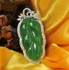 Leaf Shape 18K Gold Good Jade Pendant with Diamond 1P000560A