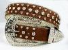 2012 Latest Design Genuine Leather Men Rhinestone Belts,Fashion Cowgirls Sparkly Rhinestone Belt,Striking shiny rhinestone belt