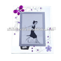 purple butterfly mirror washed beads new design glass photoframe