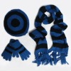 women's hat glove scarf knitting stripes set
