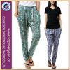Top Quality Fashion Design Trendy Band Waist Printed Baggy Jeans Women (AW05)