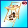 Wooden folding tray table with wheels