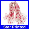 Wholesale Fashion Voile Red Star Printed Soft Weman Rectangular Warp Knitting Voilet Scarves 110*180cm