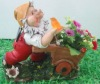 Polyresin Crafts,Gnome push the flower,Solar