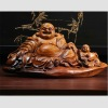 Chinese Art Work Rosewood Carved Sculpture Maitreya Buddha Statue GMYY