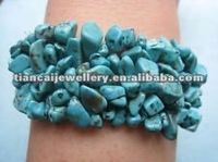 FREE SHIPPING !!! howlite turquoise gemstone chip beads weave stretch bracelet