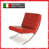 red italian leather cover with stainless steel frame Barcelona Chair