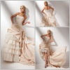 Luxurious Noble Strapless Front Short And Long Back Wedding Dress