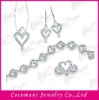 Four Piece Heart 925 Sterling Silver Wedding Jewelry Set with CZ Stones