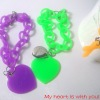 My heart is with you fashion silicone chain bracelet with pendant