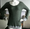Acrylic/Wool fancy knitted pullover