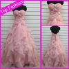 2013 Top Fashion Asymmetric Ruffles Backless Pink Plus Size Bridal Wedding Gown(RWE016)