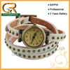 2013 Leather Wrap Bronze Dot Stud Lady Wrist Watch Uhren For Teenagers 100043