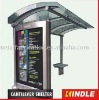 Anti-graffiti stainless steel bus stop with shelf and AD. board