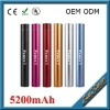 Durable Life Tube shape universal portale 5200mah power bank with imported samsung battery best for traveling