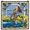 Beautiful gril run Tiffany patterned glass