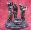 Marble Base Bronze 3 Belle Ladys Droping Water Statue