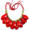 fashionable new design red water drop necklace, two layers bib necklaces for young girls