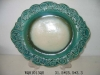 Ceramic Glazed Green and White Nice Mirror Plate For Hanging