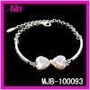 wholesale silver rhinestone heart charm bracelets