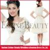 Top popular tea-length taffeta short sleeve knee length wedding dress