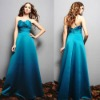 2012 New Design Taffeta Long B478 Ruffles Baby Blue Bridesmaid Dresses