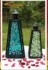 2011 Hanging Mosaic Glass Hurricane Lantern