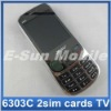 Unlocked TV Mobile Phone Quadband Dual sim cards 6303C