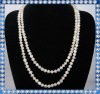 long design white potato pearl necklace