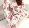 wholesale nice cotton warm color pajamas with lace for lady